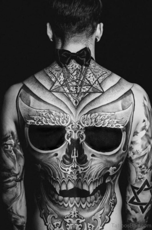 Gerey Skull Tattoo design On Full Back