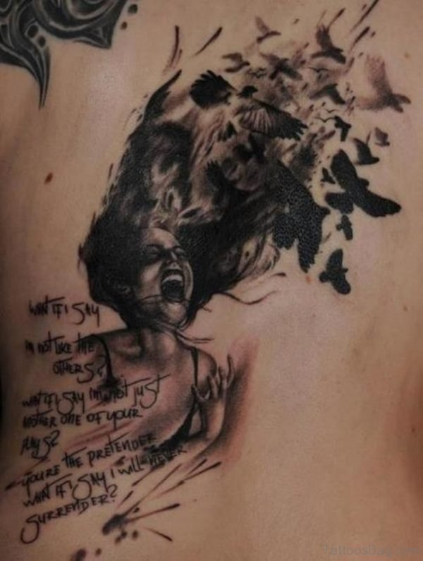 Girl And Crow Tattoo On Back