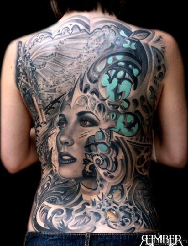 Girl Face Tattoo On Full Back