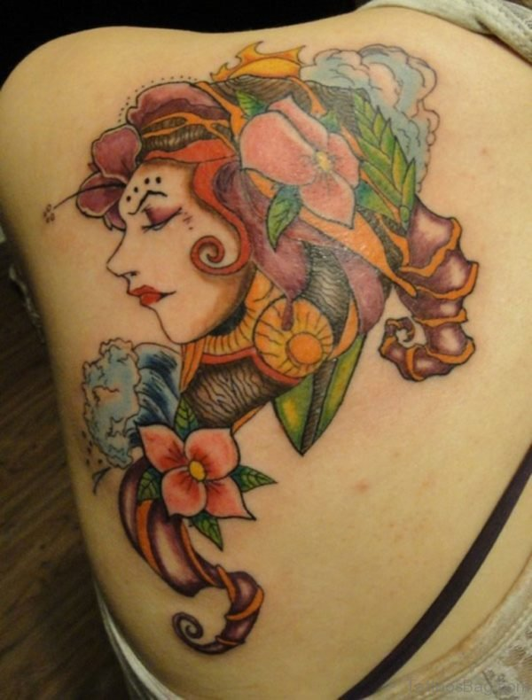 Girl Face And Flower Tattoo