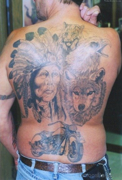 Girl Face And Wolf Tattoo On Back