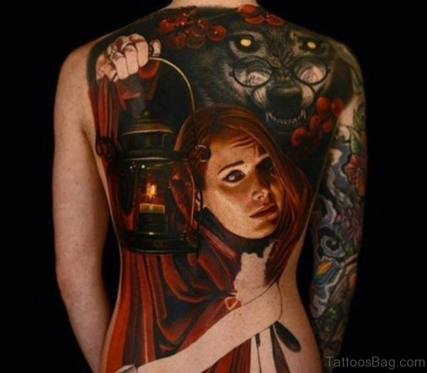 Girl Face And Wolf Tattoo On Full Back