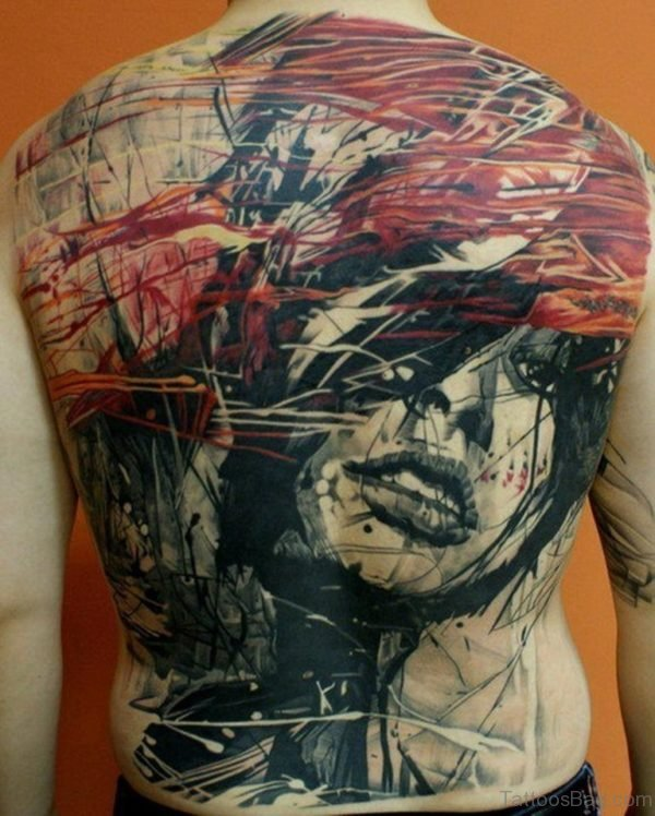 Girl Face Tattoo On Back