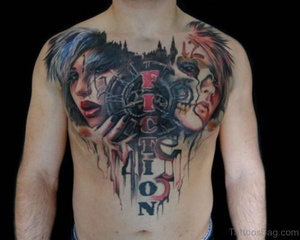 Girl Face Tattoo On Chest