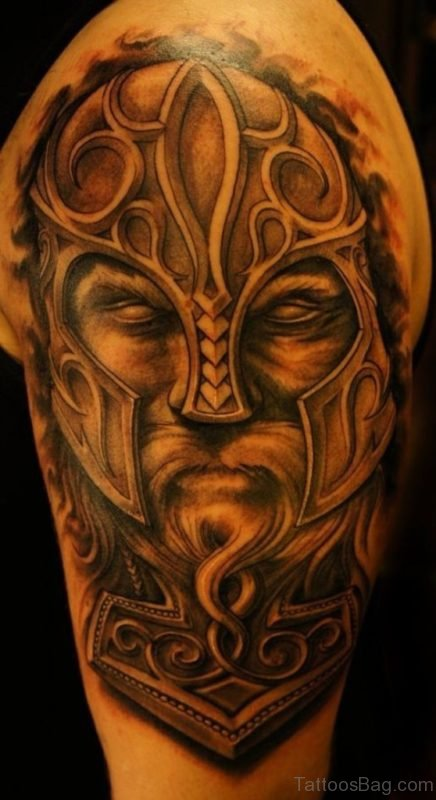 Golden Color Viking Tribal Tattoo