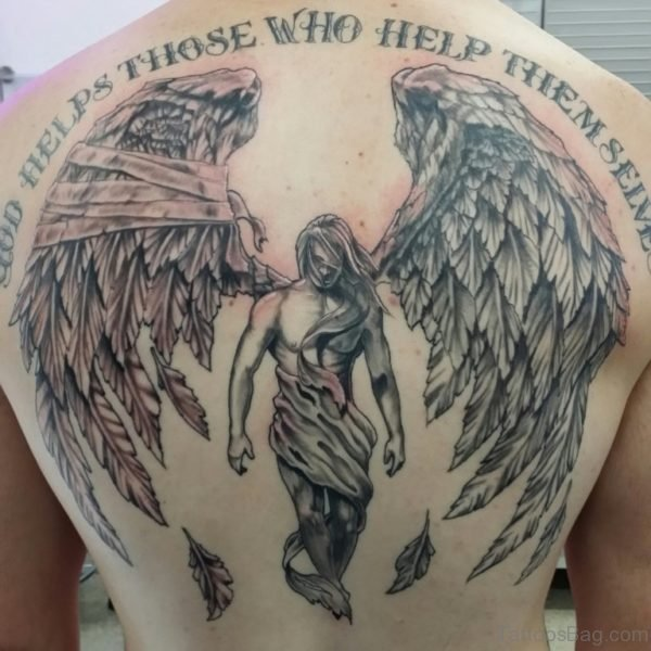 God Helps Those Memorial Angel Tattoo