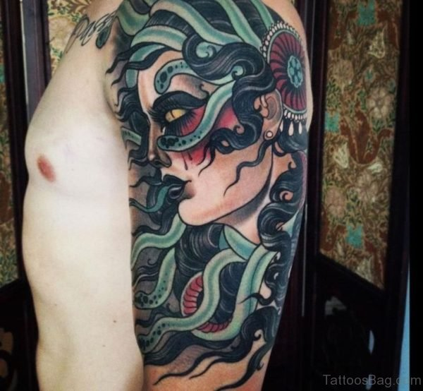 Golden Eyes Medusa Tattoos On Upper Sleeve