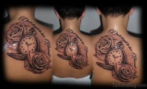 Gorgeous Clock And Rose Tattoos On Upper Back