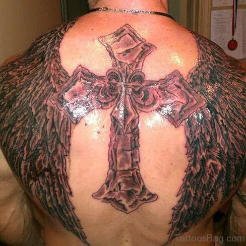 Graceful Cross And Angel Wings Tattoo