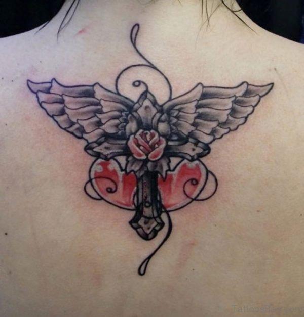 Graceful Cross Wings Tattoo