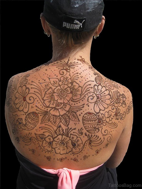 Graceful Flowers Tattoo On Back