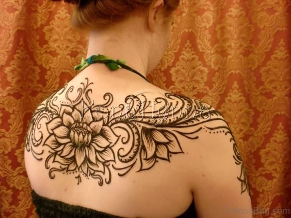 Graceful Henna Flower Tattoo