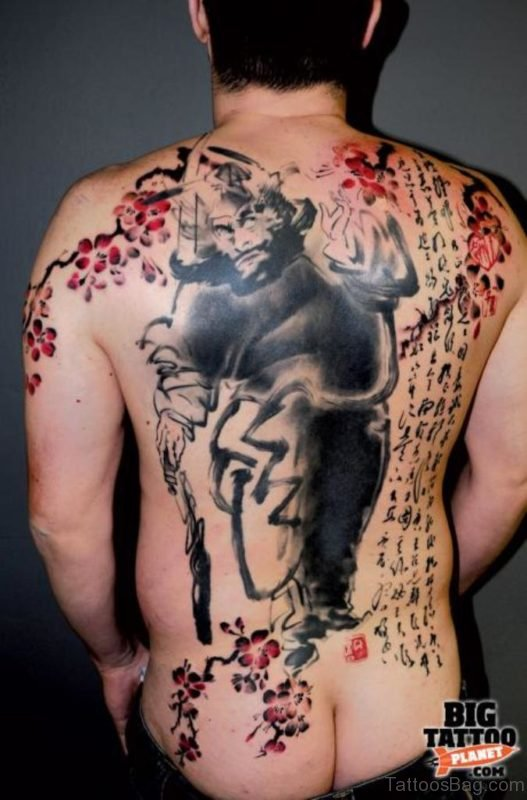 Graceful  Horror Tattoo On Back