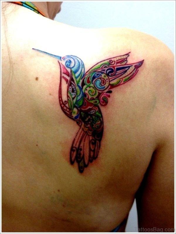 Graceful Hummingbird Tattoo On Back