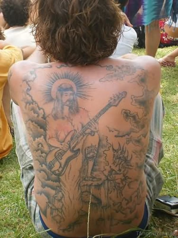 Graceful  Jesus Tattoo On Back