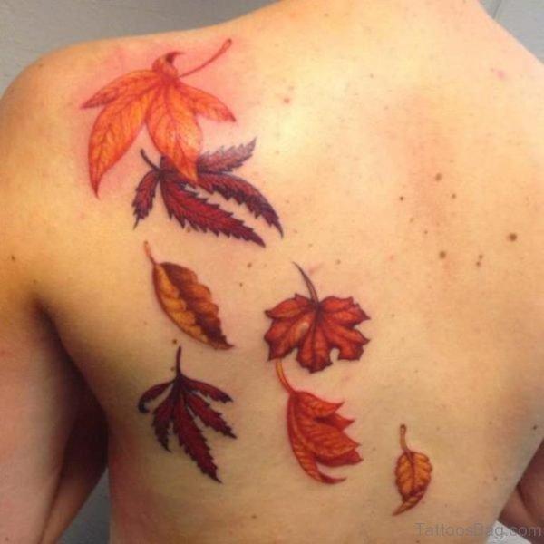 Graceful Leaf Tattoo On Back