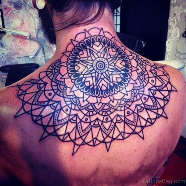 Graceful Mandala Tattoo On Back