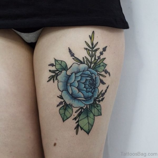 Graceful Rose Tattoo On Thigh