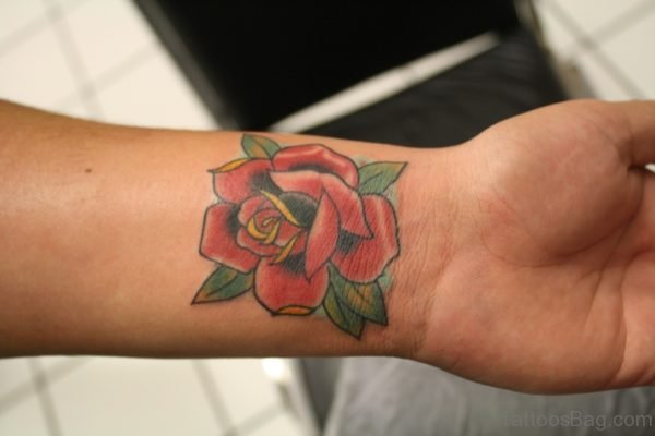 Graceful Rose Tattoo On Wrist