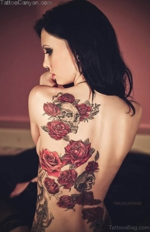 Graceful Skull And Rose Tattoo