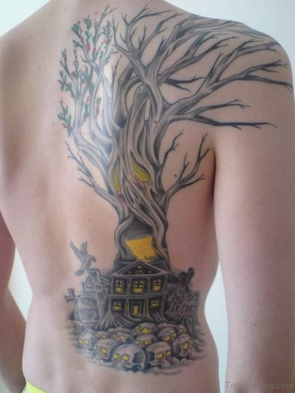 Graceful Tree Tattoo On Back