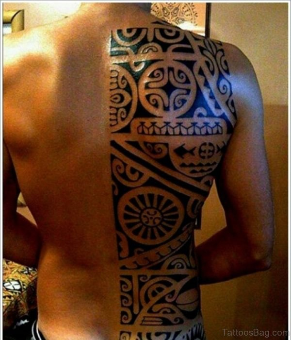 Graceful Tribal Tattoo On  Back