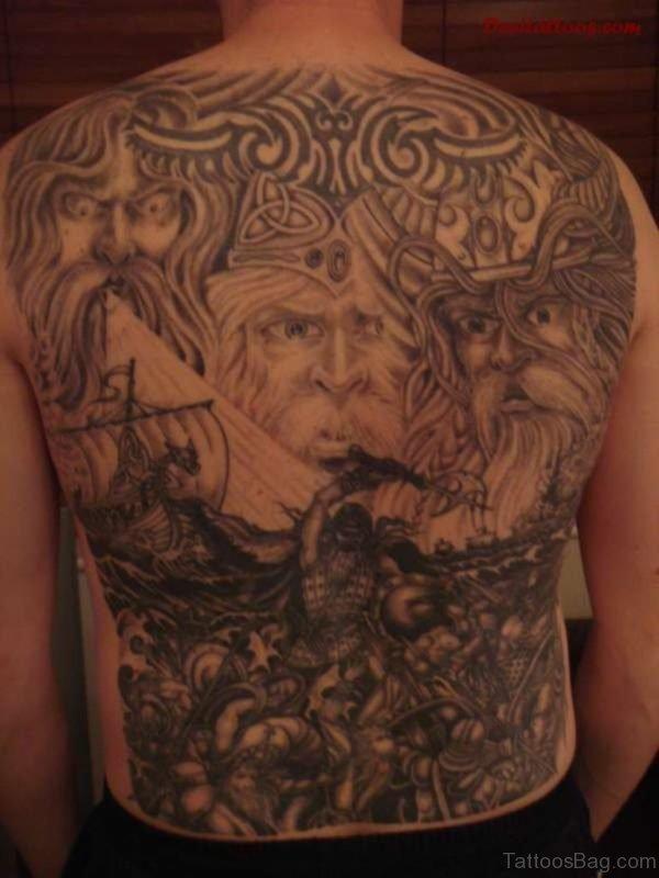 Graceful Viking Tattoo On Full Back