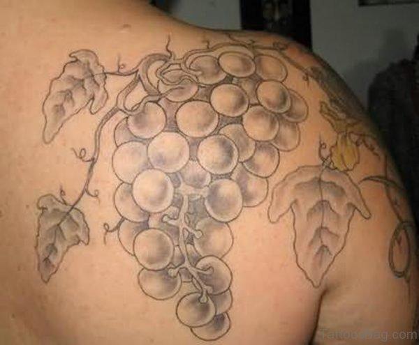 Grapes Vine Shoulder Back Tattoo