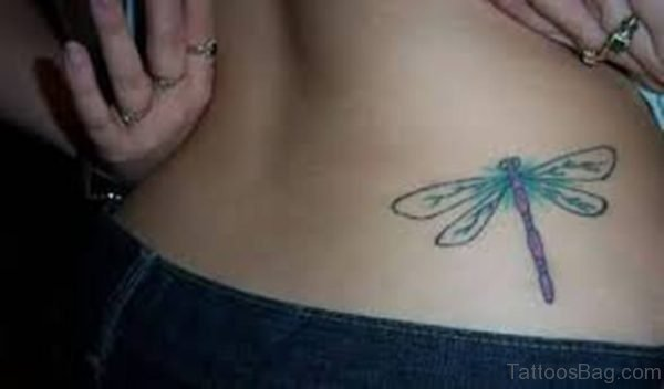 Great Looking Dragonfly Tattoo On Lower Back