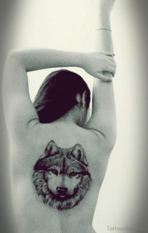 Great Wolf Tattoo On Back