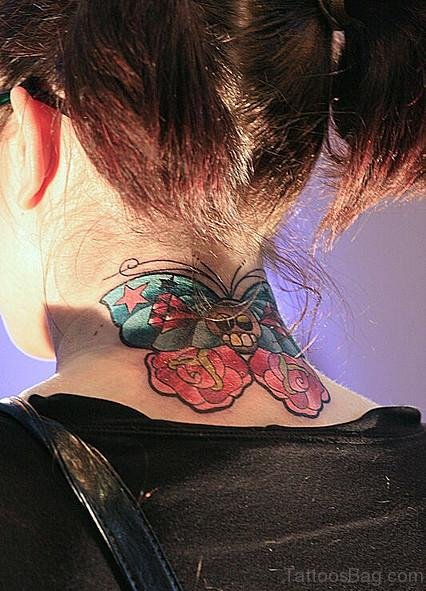 Green And Red Butterfly Tattoo