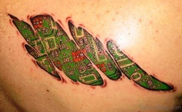 Green Biomechanical Tattoo On Back