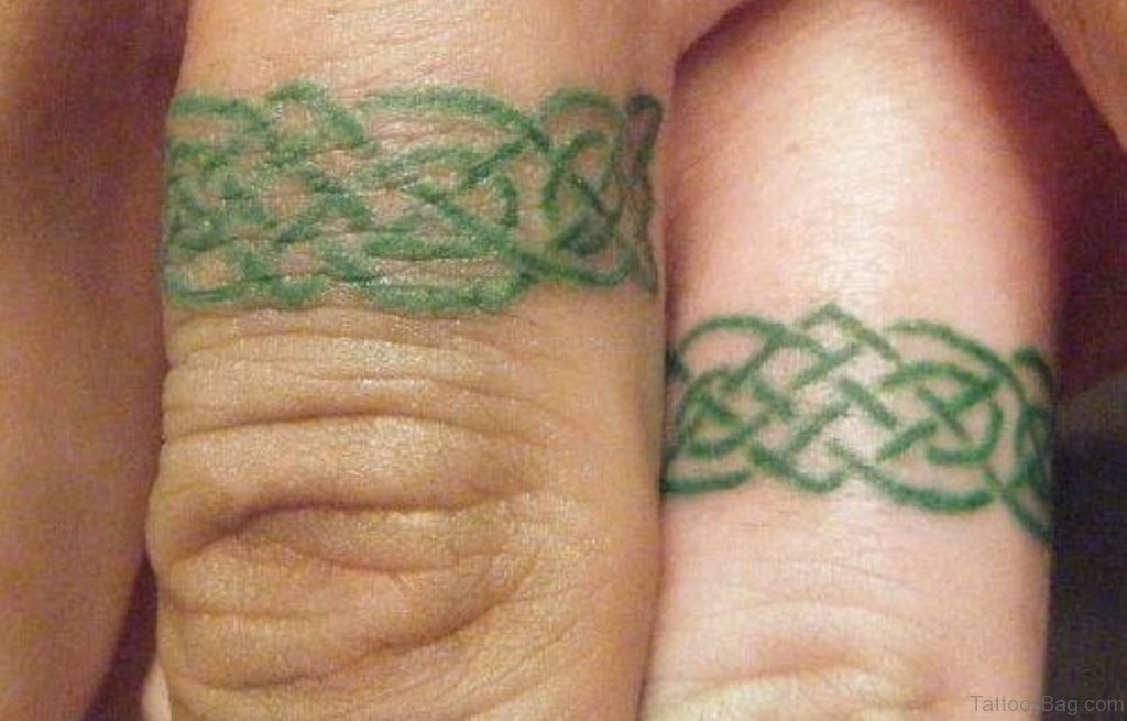 20 beautiful wedding ring tattoos for finger for Celtic ring tattoos