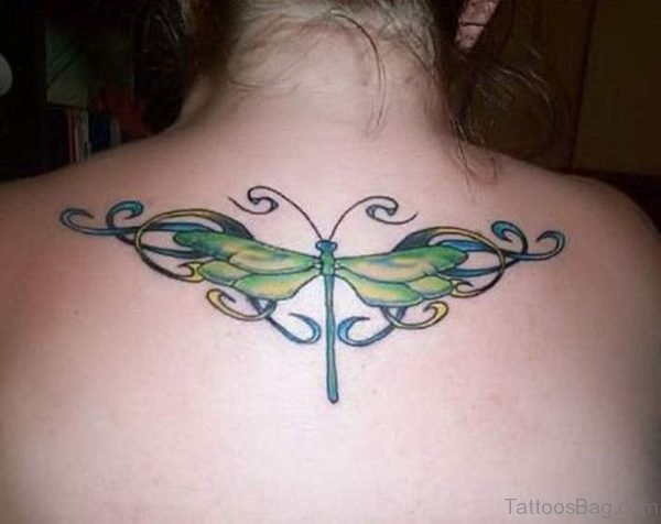 Green Dragonfly Tattoo On Back