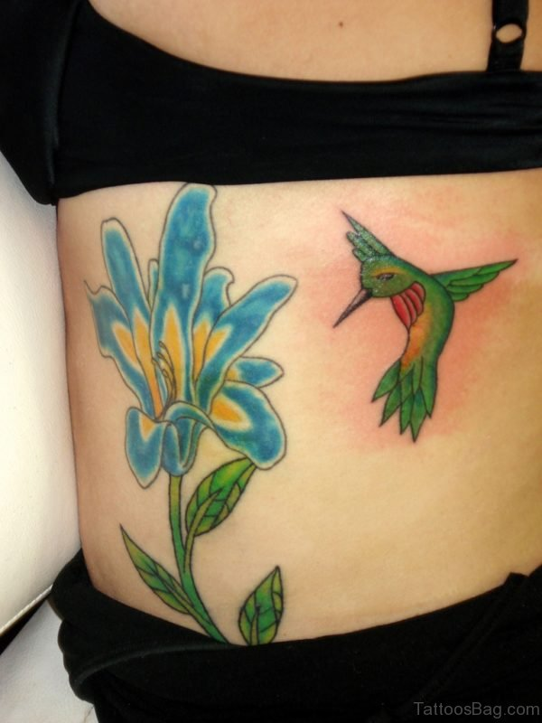 Green Hummingbird Tattoo On Back