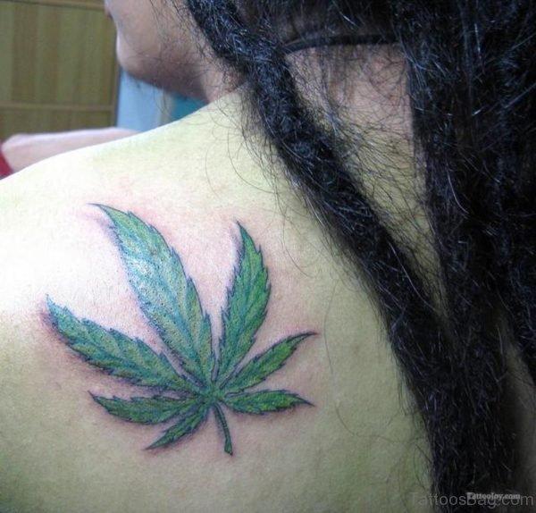 Green Ink Marijuana Leaf Tattoo