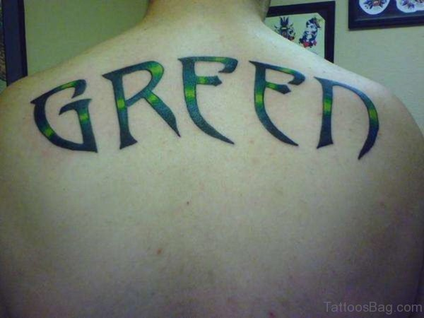 Green Ink Name Tattoo
