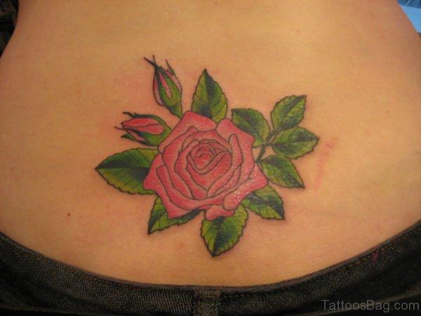 Green Leaf And Rose Tattoo