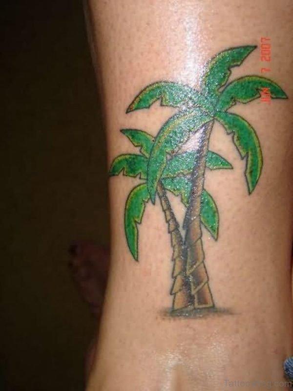 Green Leaf Palm Tree Tattoo