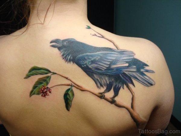 Green Leaf and Crow Tattoo