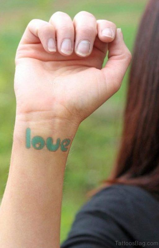 Green Love Word Tattoo