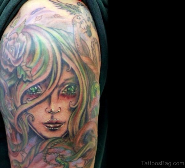 Green Medusa Tattoo For Shoulder