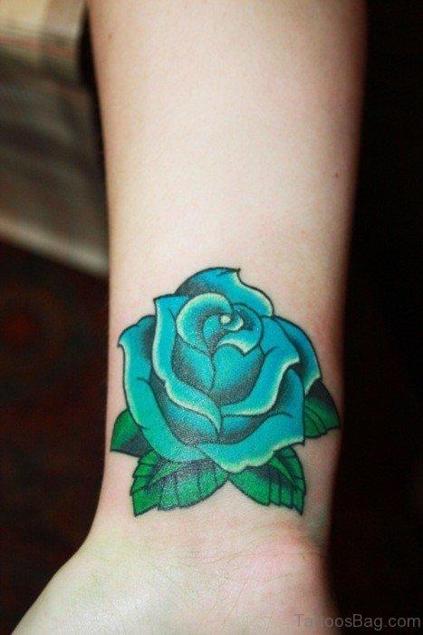 Green Rose Tattoo On Wrist