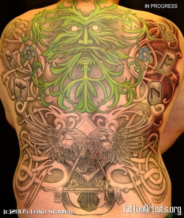 Green Viking Tattoo On Full Back