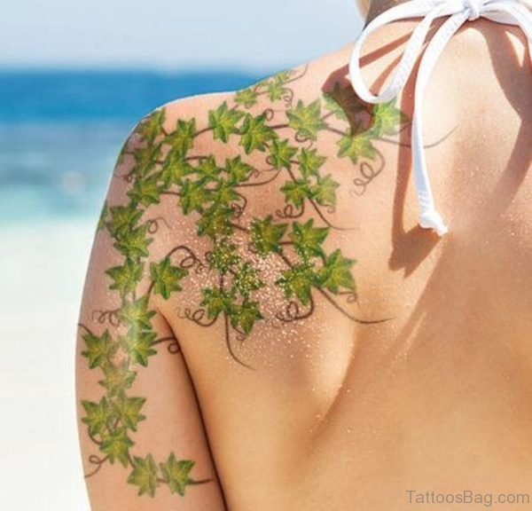 Green Vine Shoulder Tattoo