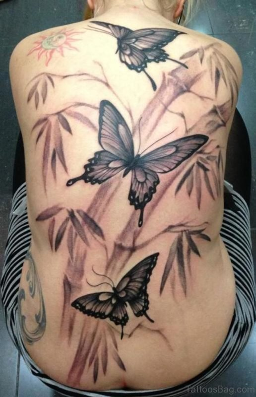 Grey Butterflies Tattoo