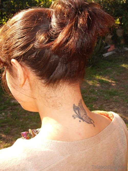 Grey Butterfly Tattoo On Neck