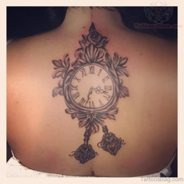 Grey Clock Tattoo On Upper Back For Girls