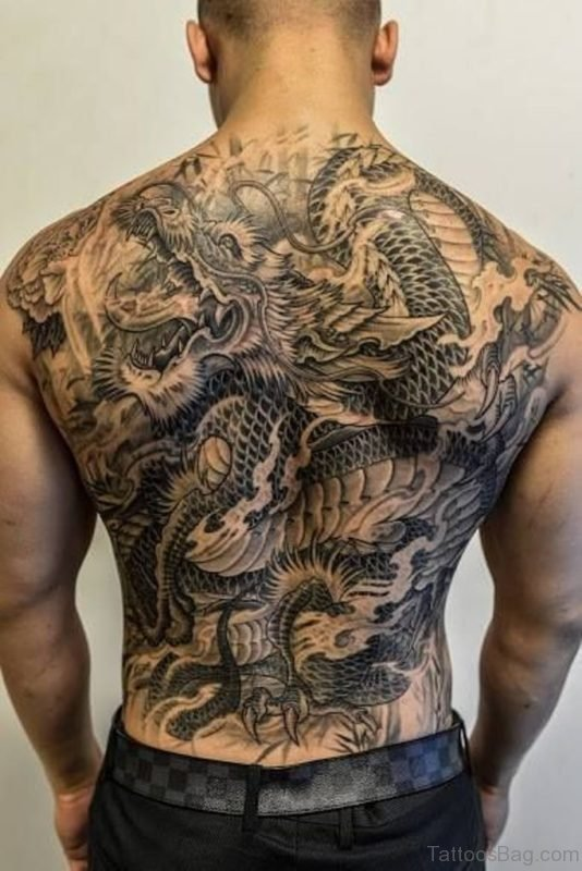 Grey Dragon Tattoo On Back
