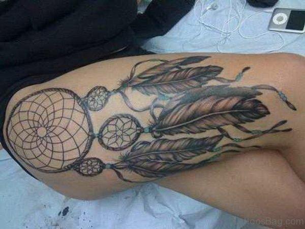 Grey Dreamcatcher Tattoo Design